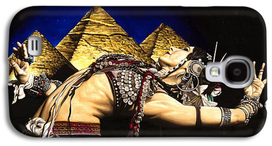 Bellydance Galaxy S4 Case featuring the painting Bellydance Of The Pyramids - Rachel Brice by Richard Young