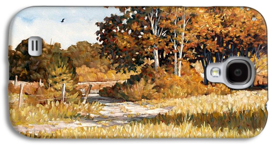 Landscape Galaxy S4 Case featuring the painting Bend In The Road by Kevin Lawrence Leveque