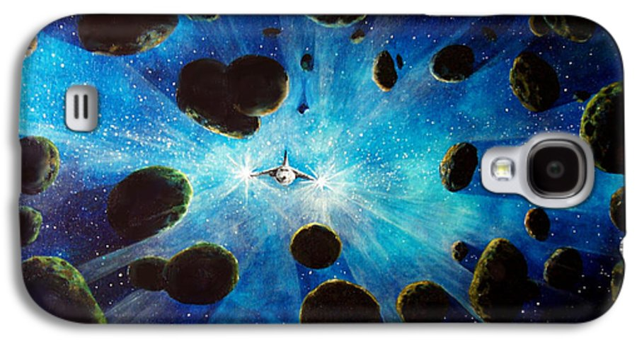 Asteroid Field. Astro Galaxy S4 Case featuring the painting Better Go Around by Murphy Elliott