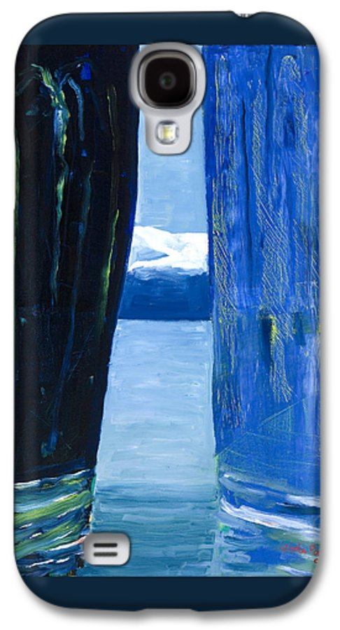 Landscape Galaxy S4 Case featuring the painting Between Two Mountains. by Jarle Rosseland