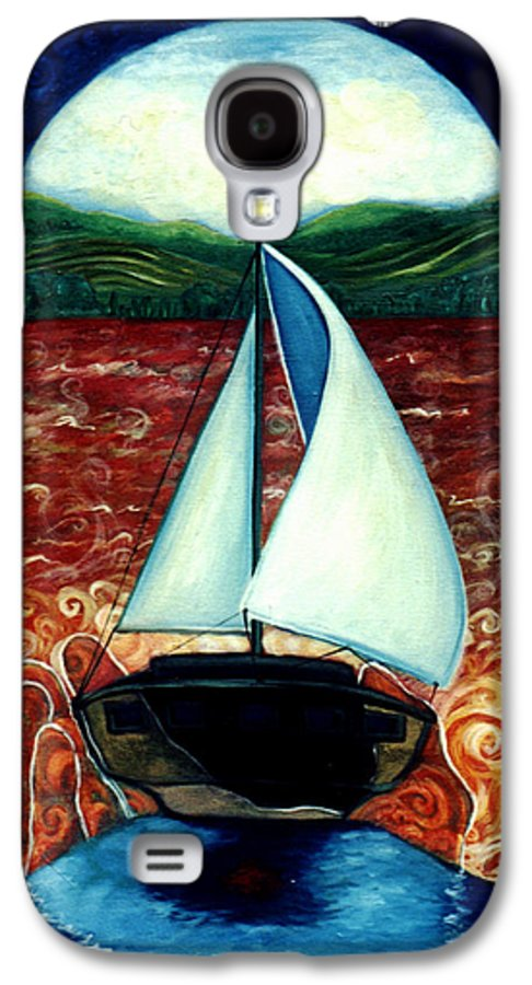 Sailboat Galaxy S4 Case featuring the painting Beyond These Shores by Teresa Carter