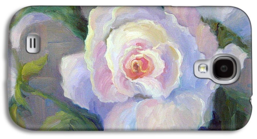 Flower Galaxy S4 Case featuring the painting Big Blushing Rose by Bunny Oliver
