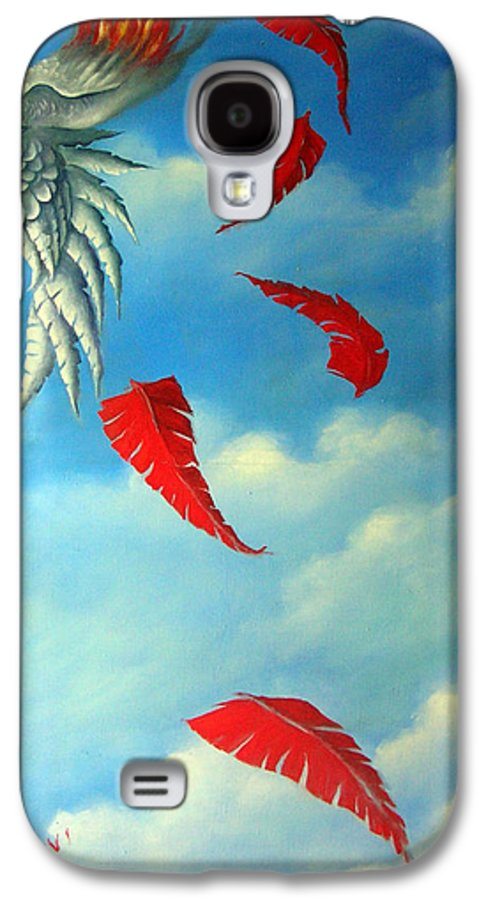 Surreal Galaxy S4 Case featuring the painting Bird On Fire by Valerie Vescovi