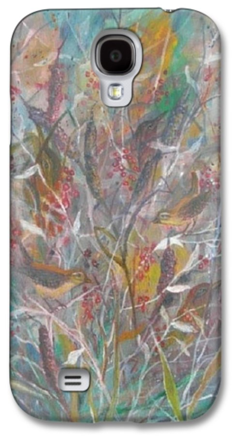 Birds Galaxy S4 Case featuring the painting Birds In A Bush by Ben Kiger