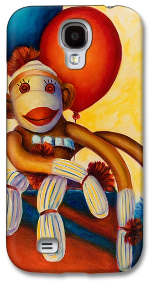 Sock Monkey Brown Galaxy S4 Case featuring the painting Birthday Made Of Sockies by Shannon Grissom