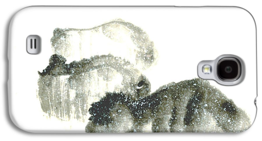 A Herd Of Bison Grazing In Snow. This Is A Contemporary Chinese Ink And Color On Rice Paper Painting With Simple Zen Style Brush Strokes.  Galaxy S4 Case featuring the painting Bison In Snow II by Mui-Joo Wee