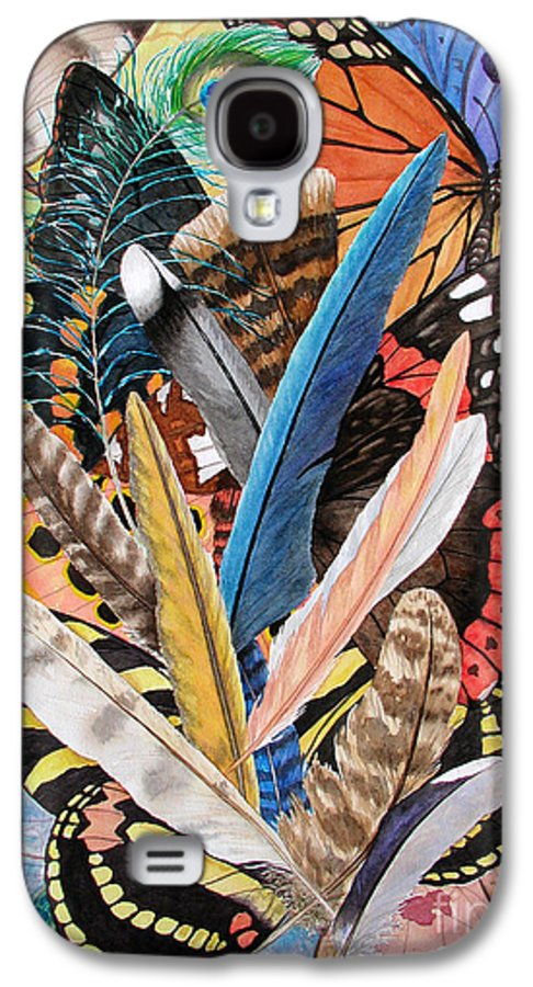 Feathers Galaxy S4 Case featuring the painting Bits Of Flight by Lucy Arnold