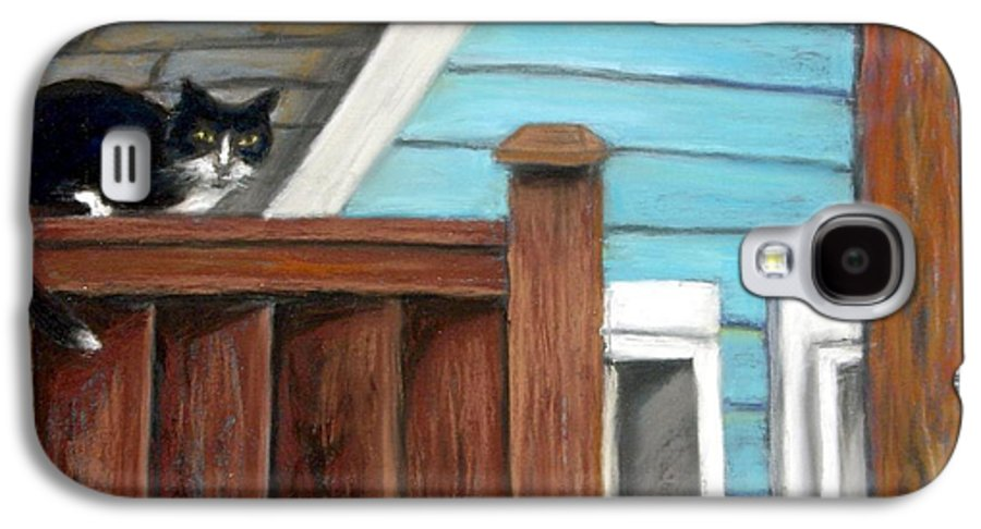 Cat Galaxy S4 Case featuring the painting Black Alley Cat by Minaz Jantz