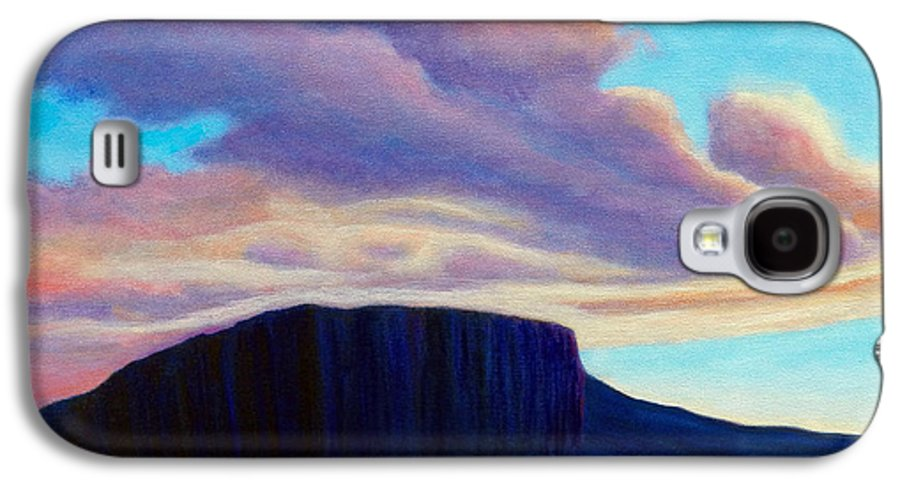 Landscape Galaxy S4 Case featuring the painting Black Mesa Sunset by Brian Commerford