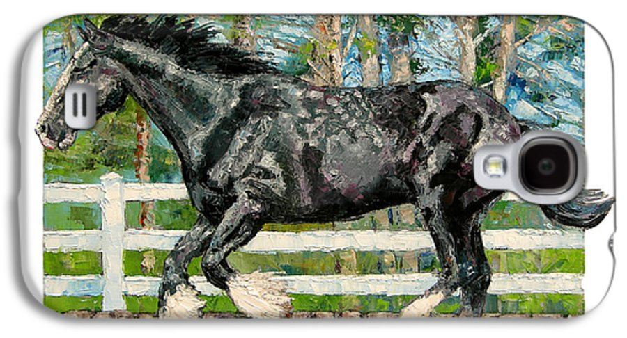 Horse Galaxy S4 Case featuring the painting Black Power by John Lautermilch