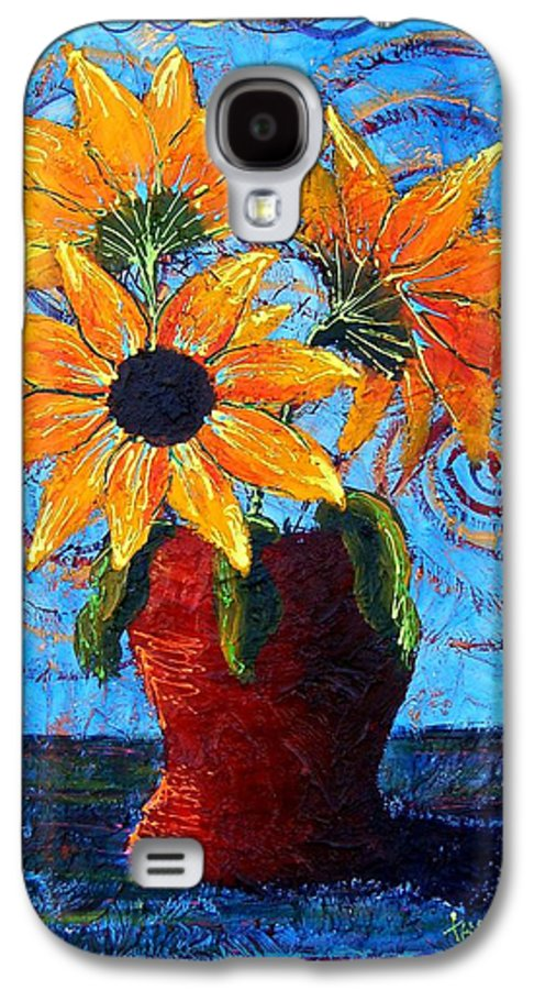 Galaxy S4 Case featuring the painting Blazing Sunflowers by Tami Booher