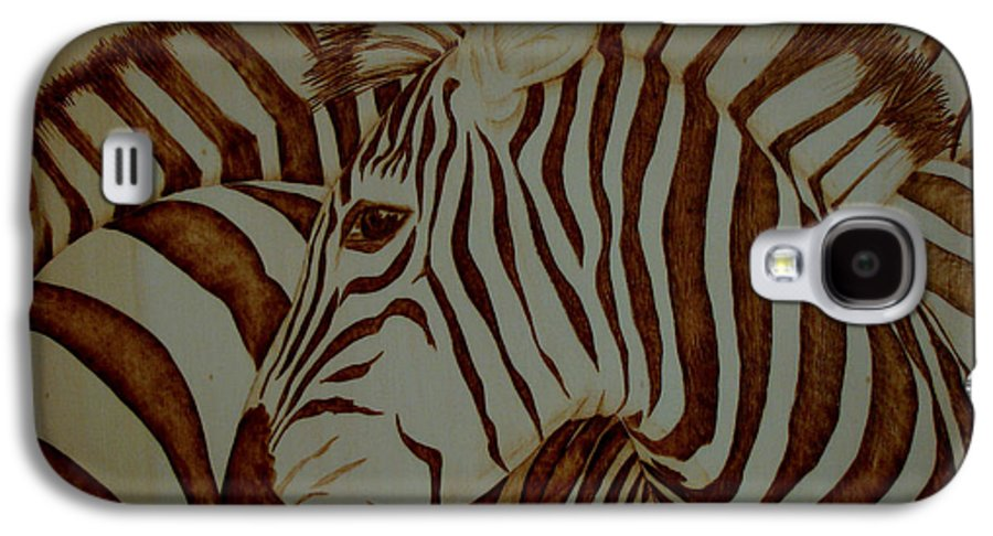 Pyrography; Woodburning; Sepia; Zebra; Stripes; Wild Life; Africa; Horse; Herd; Galaxy S4 Case featuring the pyrography Blending In by Jo Schwartz