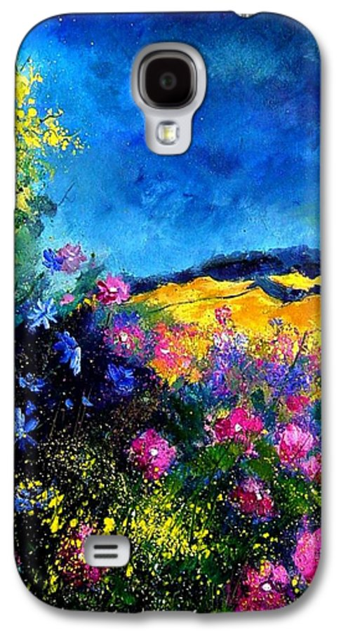 Landscape Galaxy S4 Case featuring the painting Blue And Pink Flowers by Pol Ledent