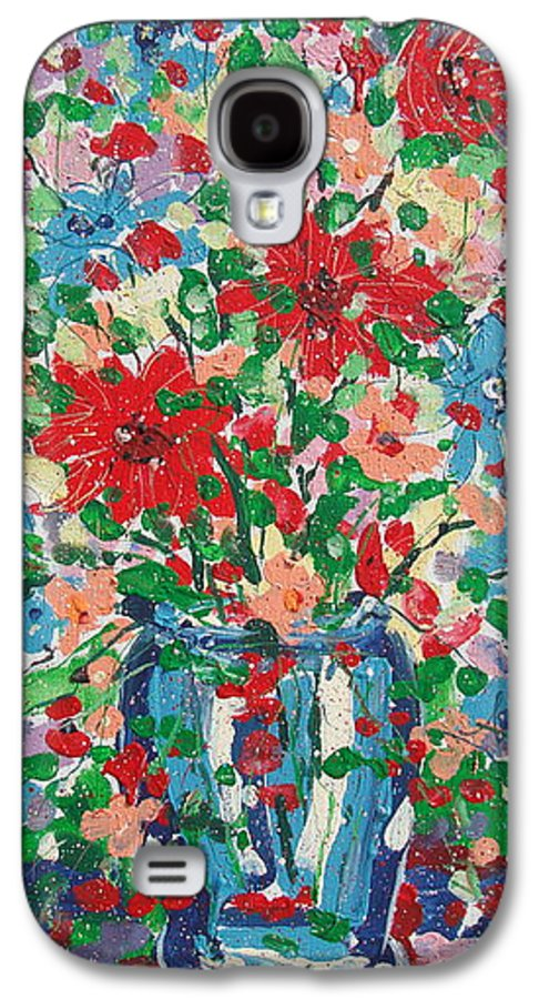 Painting Galaxy S4 Case featuring the painting Blue And Red Flowers. by Leonard Holland