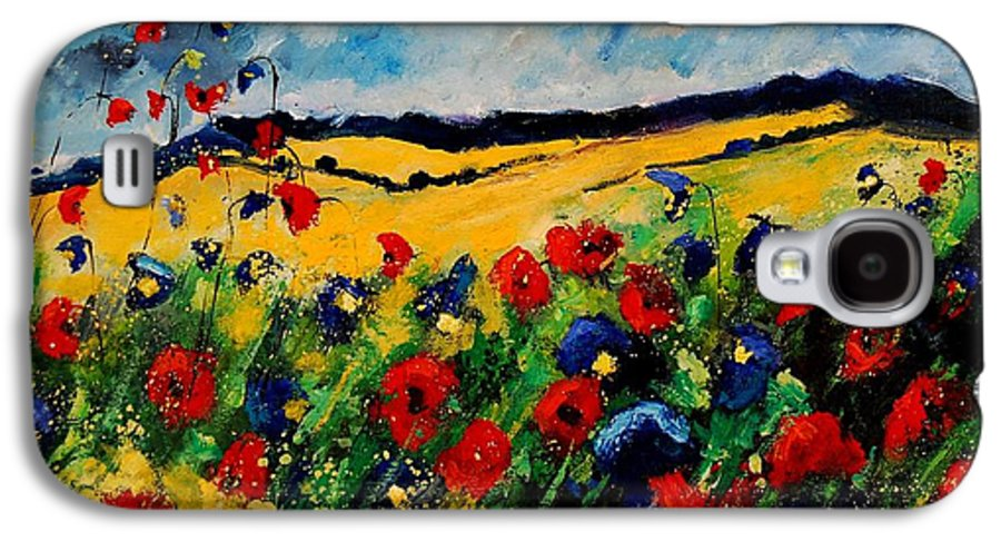 Poppies Galaxy S4 Case featuring the painting Blue And Red Poppies 45 by Pol Ledent