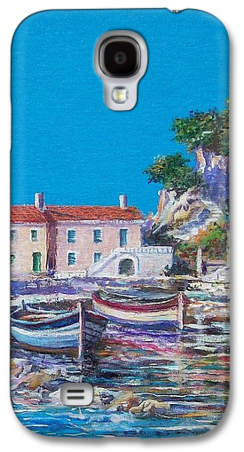 Original Painting Galaxy S4 Case featuring the painting Blue Bay by Sinisa Saratlic