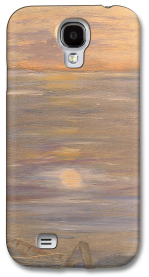 Boat Galaxy S4 Case featuring the painting Blue Boat by Patricia Caldwell