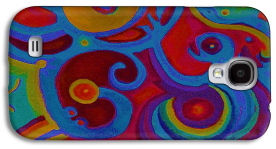 Abstract Galaxy S4 Case featuring the painting Blue Corn Flower by Sidra Myers