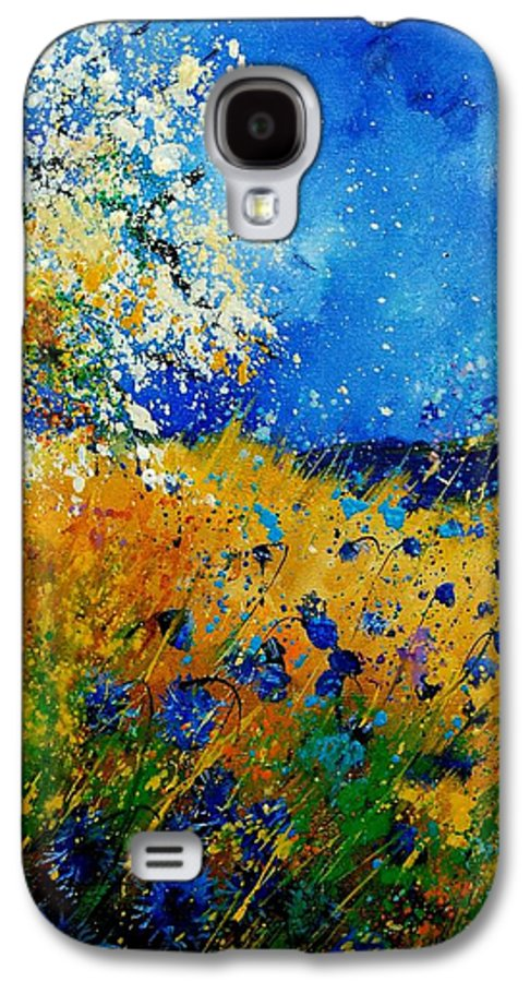 Poppies Galaxy S4 Case featuring the painting Blue Cornflowers 450108 by Pol Ledent