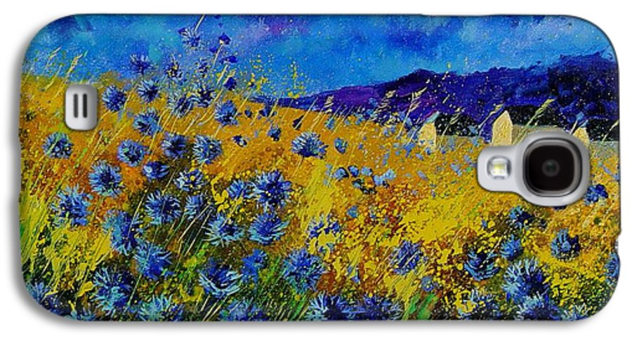 Poppies Galaxy S4 Case featuring the painting Blue Cornflowers by Pol Ledent