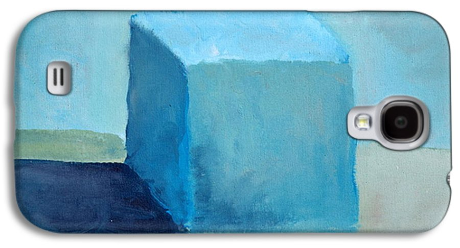 Blue Galaxy S4 Case featuring the painting Blue Cube Still Life by Michelle Calkins