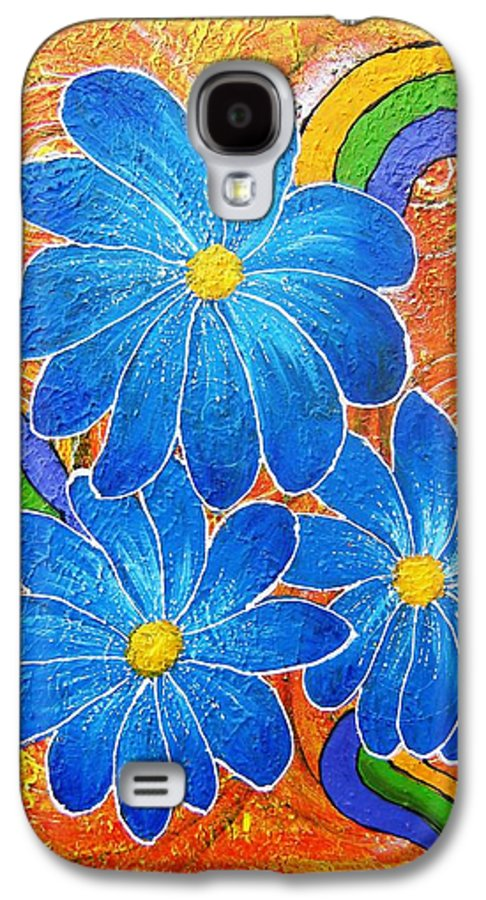 Galaxy S4 Case featuring the painting Blue Daisies Gone Wild by Tami Booher