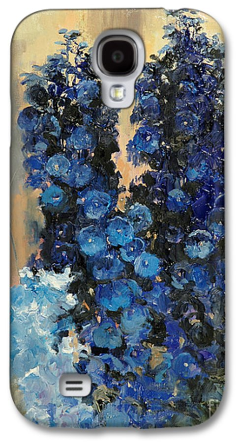 Floral Galaxy S4 Case featuring the painting Blue Delphiniums For Nancy by Glenn Secrest