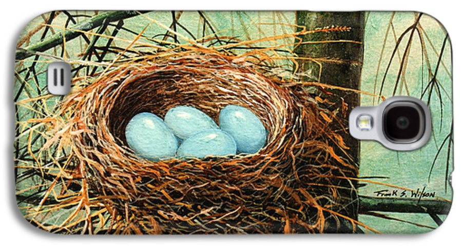 Wildlife Galaxy S4 Case featuring the painting Blue Eggs In Nest by Frank Wilson