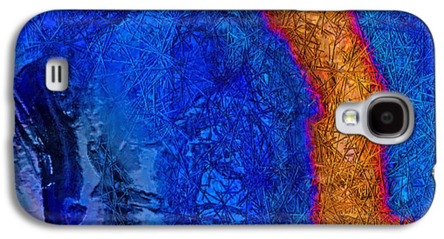 Abstract Galaxy S4 Case featuring the painting Blue Force by Dee Flouton