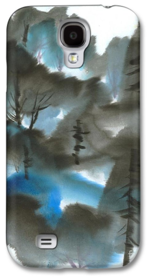 A Forest With A Tint Of Blue. This Is A Contemporary Chinese Ink And Color On Rice Paper Painting With Simple Zen Style Brush Strokes.  Galaxy S4 Case featuring the painting Blue Forest by Mui-Joo Wee