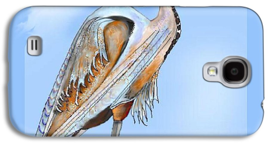 Blue Heron Galaxy S4 Case featuring the painting Blue Heron In The Mist by Anne Norskog