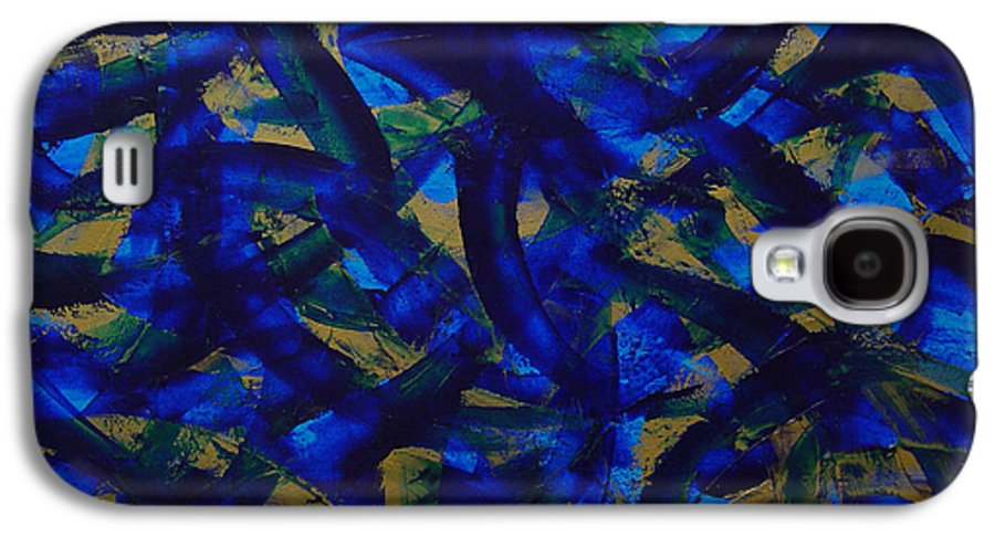 Abstract Galaxy S4 Case featuring the painting Blue Pyramid by Dean Triolo
