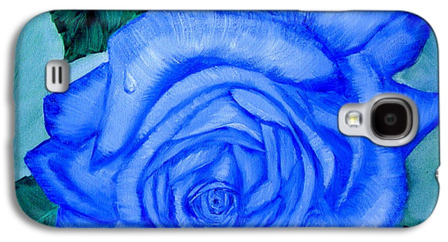 Rose Galaxy S4 Case featuring the painting Blue Rose by Quwatha Valentine