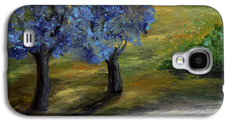 Trees Galaxy S4 Case featuring the painting Blue Trees by Laura Swink