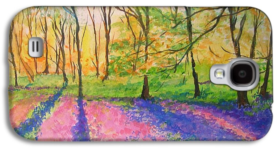 Landscape Galaxy S4 Case featuring the painting Bluebell Wood by Lizzy Forrester