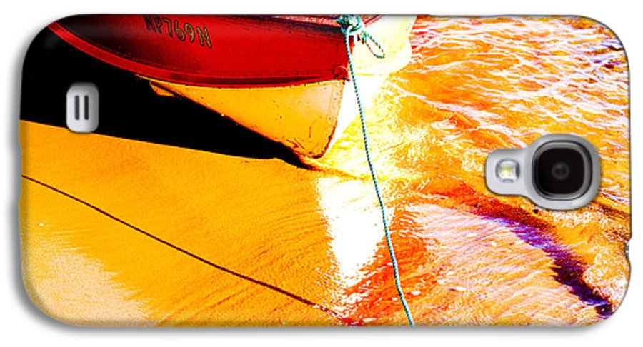 Boat Abstract Yellow Water Orange Galaxy S4 Case featuring the photograph Boat Abstract by Sheila Smart Fine Art Photography