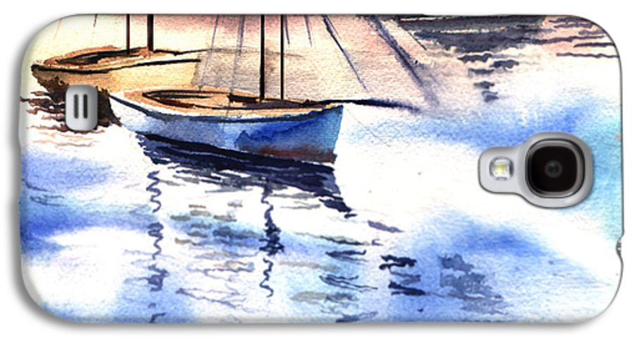 Watercolor Galaxy S4 Case featuring the painting Boat And The River by Anil Nene