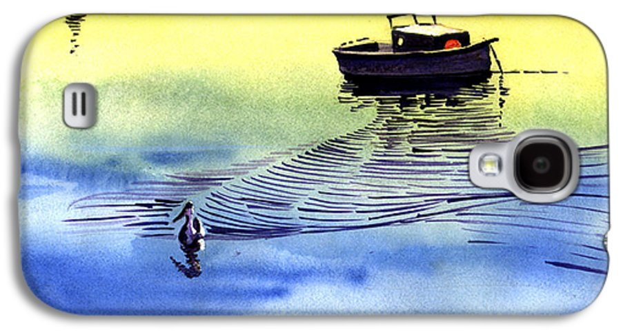 Watercolor Galaxy S4 Case featuring the painting Boat And The Seagull by Anil Nene