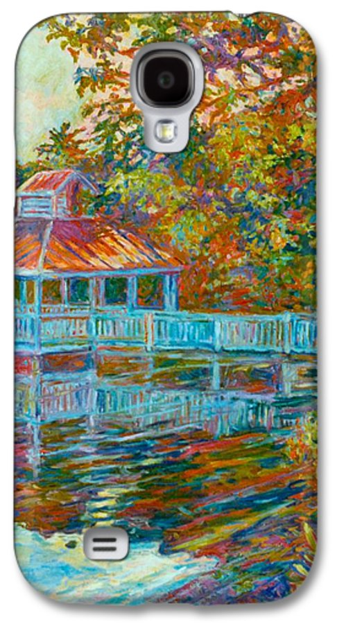 Mountain Lake Galaxy S4 Case featuring the painting Boathouse At Mountain Lake by Kendall Kessler