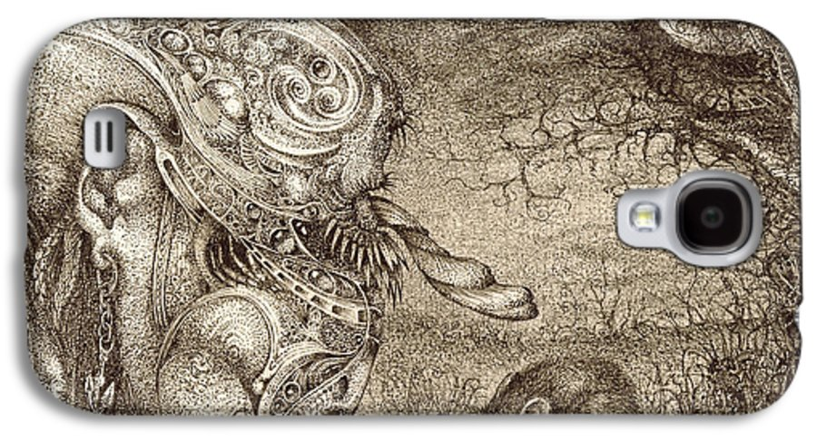 Surreal Galaxy S4 Case featuring the drawing Bogomils Mousetrap by Otto Rapp