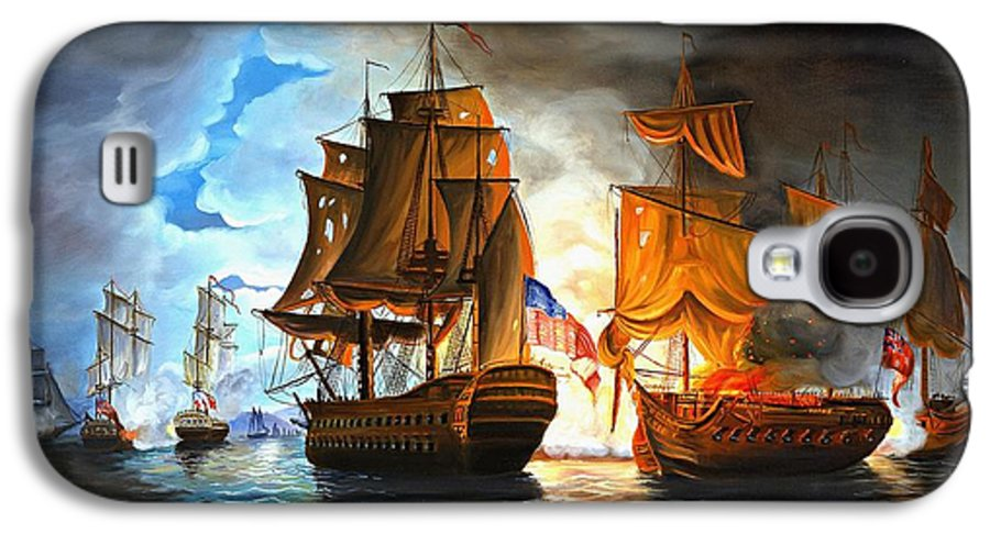 Naval Battle Galaxy S4 Case featuring the painting Bonhomme Richard Engaging The Serapis In Battle by Paul Walsh