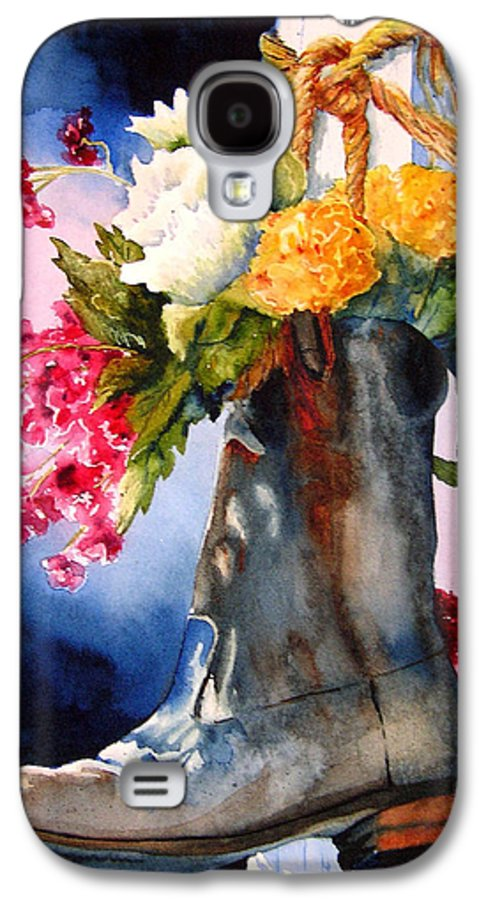 Cowboy Galaxy S4 Case featuring the painting Boot Bouquet by Karen Stark