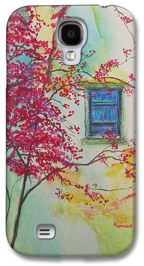 Bouganvilla Galaxy S4 Case featuring the painting Bouganvilla And Blue Shutter by Lizzy Forrester