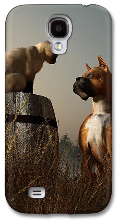 Dog Galaxy S4 Case featuring the digital art Boxer And Siamese by Daniel Eskridge