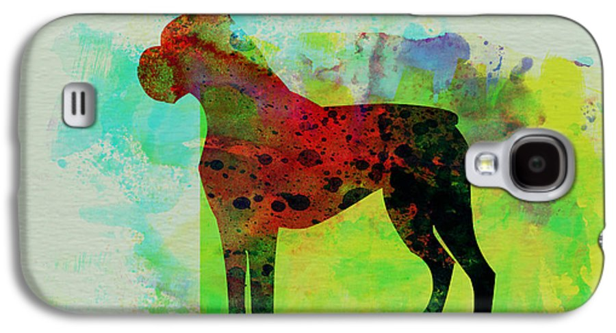 Boxer Galaxy S4 Case featuring the painting Boxer Watercolor by Naxart Studio
