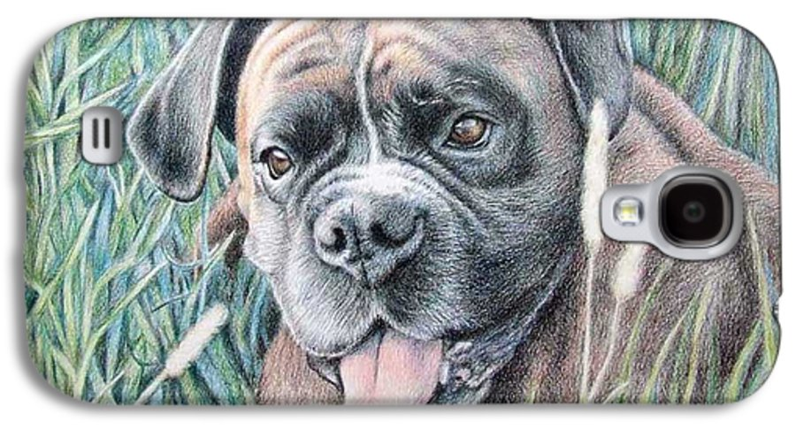 Dog Galaxy S4 Case featuring the drawing Boxer Yosi by Nicole Zeug