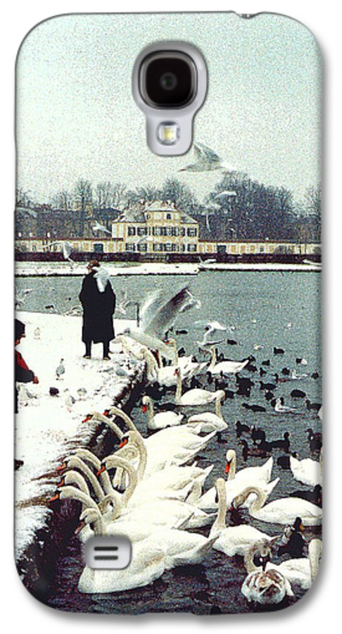 Swans Galaxy S4 Case featuring the photograph Boy Feeding Swans- Germany by Nancy Mueller