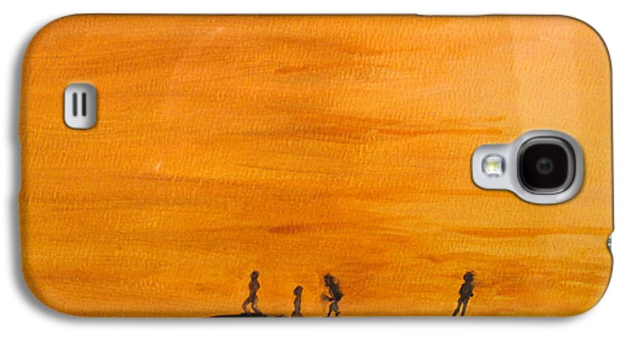 Boys Galaxy S4 Case featuring the painting Boys At Sunset by Ian MacDonald