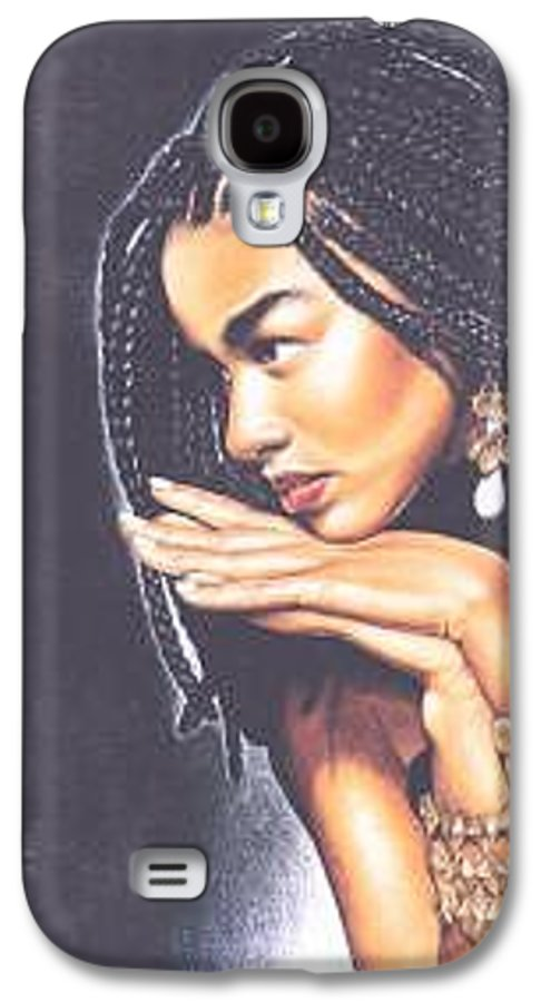 Woman W/folded Hands Galaxy S4 Case featuring the drawing Braided Beauty by Charlene Cooper
