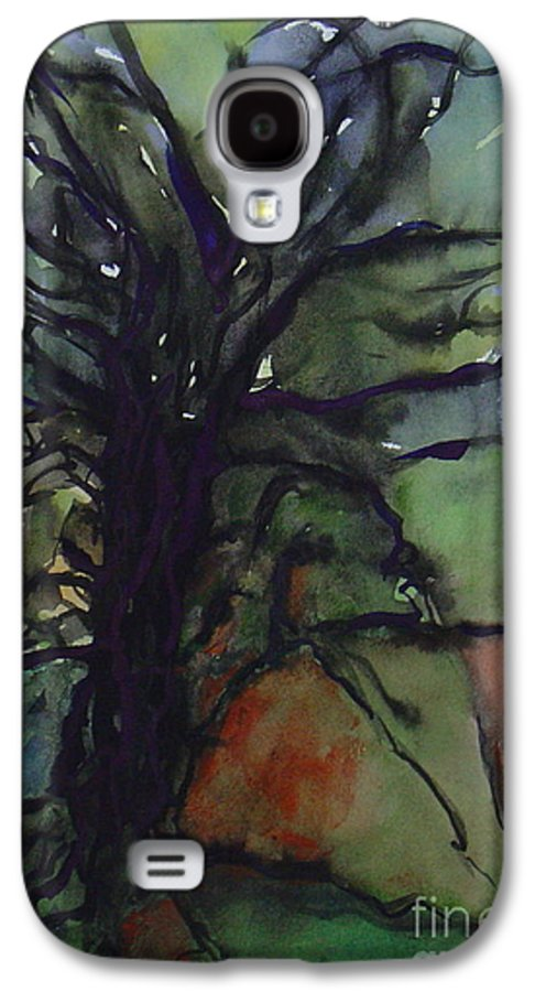 Tree Landscape Abstract Watercolor Original Blue Green Galaxy S4 Case featuring the painting Branching by Leila Atkinson